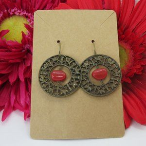 Antiqued gold tone & coral chip on hook earrings